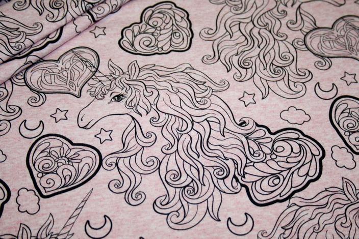 French Terry Sweatshirt Stoff rosa meliert Einhorn Einhörner Unicorn