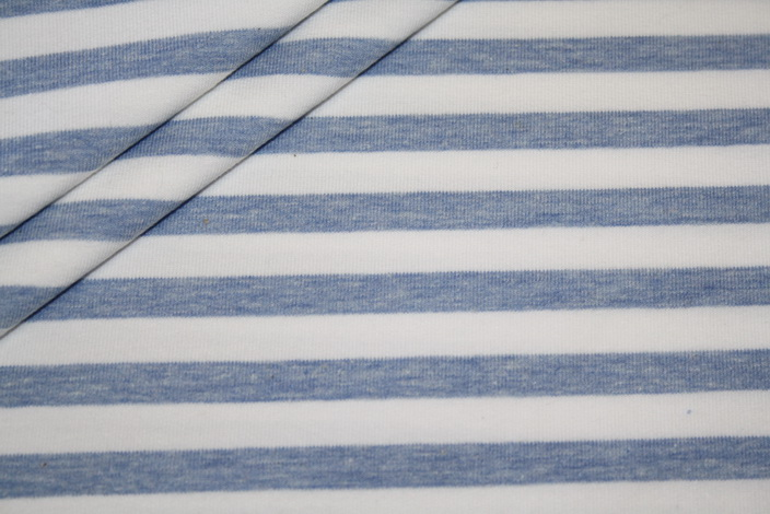 French Terry Sweatshirt Stoff Streifen blau weiß