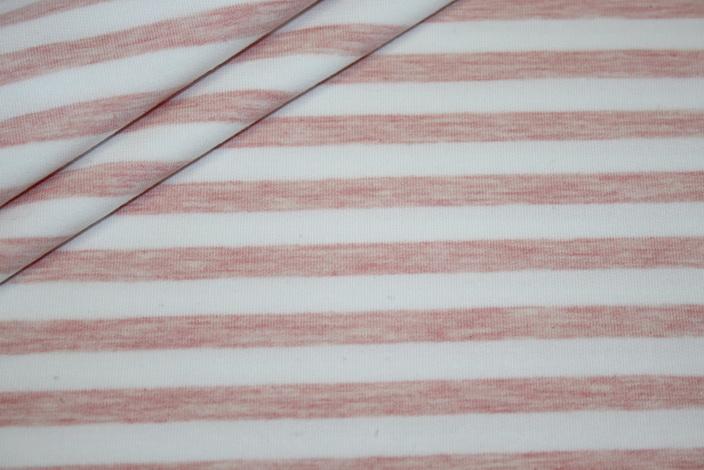 French Terry Sweatshirt Stoff Streifen rosa weiß