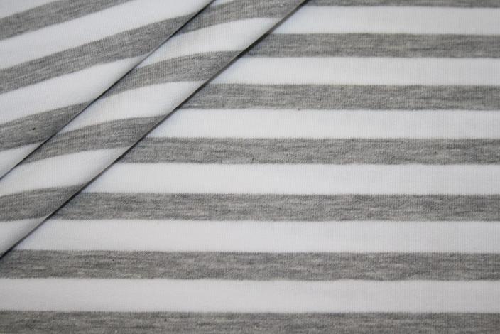 French Terry Sweatshirt Stoff Streifen grau weiß