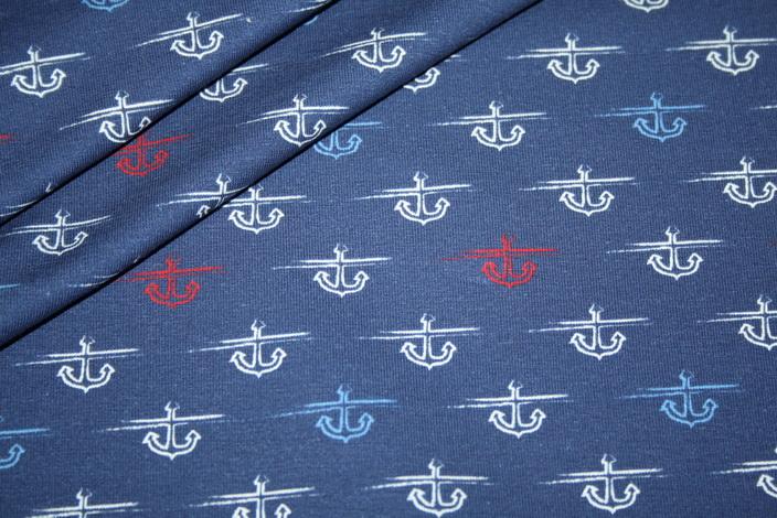 Hilco Jersey Stoff Streifen blau Anker Anchor line up
