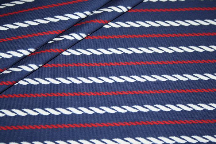 Hilco Jersey Stoff Streifen blau rot Sailors Rope