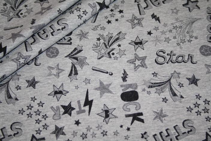 Hilco Jersey Stoff Streifen grau meliert Cool Rock Star