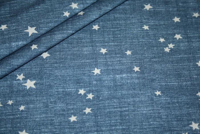 Hilco Jersey Stoff Streifen blau meliert Sterne
