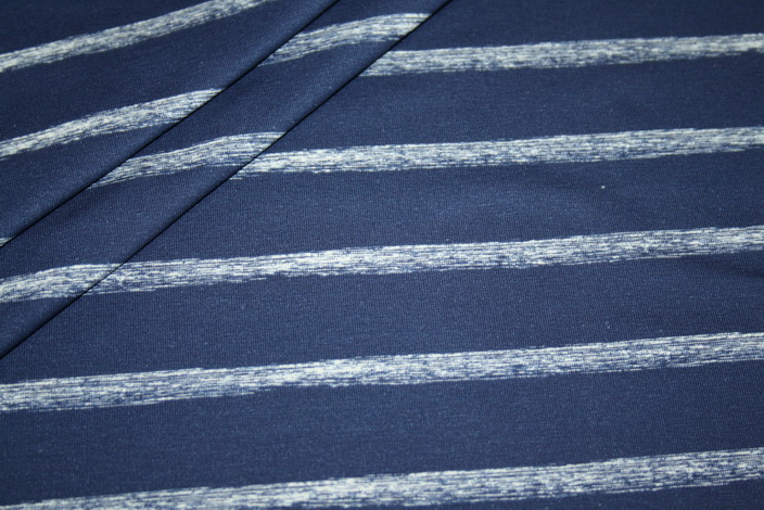 Hilco Jersey Stoff Streifen blau weiß