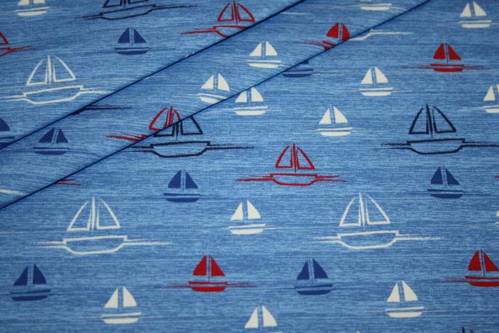 Hilco Jersey Stoff Maritim blau weiß rot Sail Away