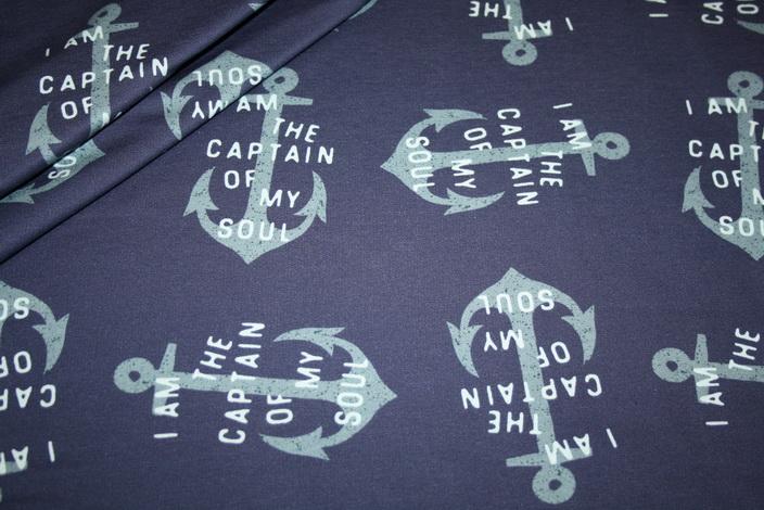 Hilco dünner Sweatshirt Stoff blau Anker