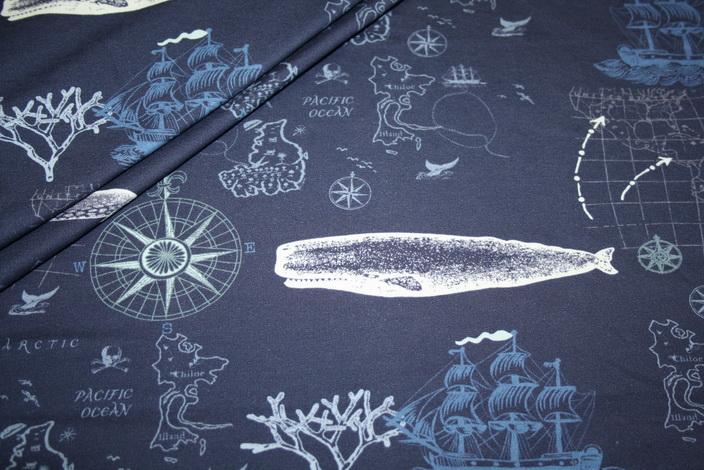Hilco dünner Sweatshirt Stoff Maritim blau Wale