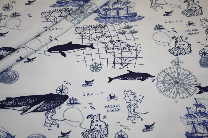 Hilco Jersey Stoff Maritim weiß blau Wale