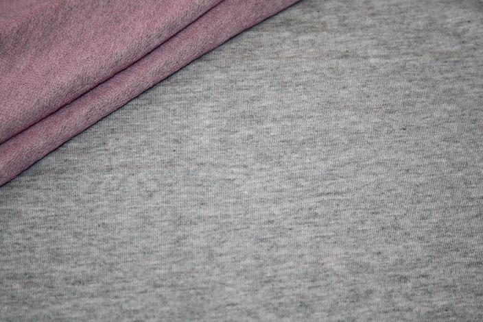 Hilco French Terry sehr dünner Jersey Stoff grau meliert innen pink