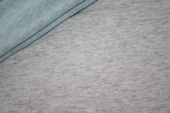Hilco French Terry sehr dünner Jersey Stoff grau meliert innen türkis