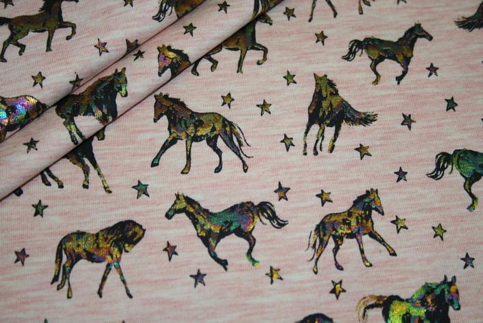 Jersey Stoff rosa meliert Pferde Foliendruck bunt