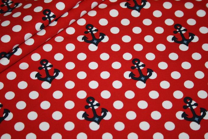 Little Sailor Jersey Stoff Anker Punkte rot