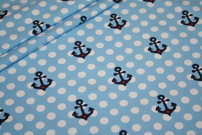 Little Sailor Jersey Stoff Anker Punkte hellblau