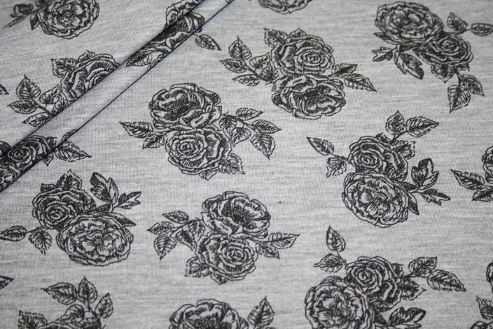 Jersey Stoff grau meliert Rosen schwarz