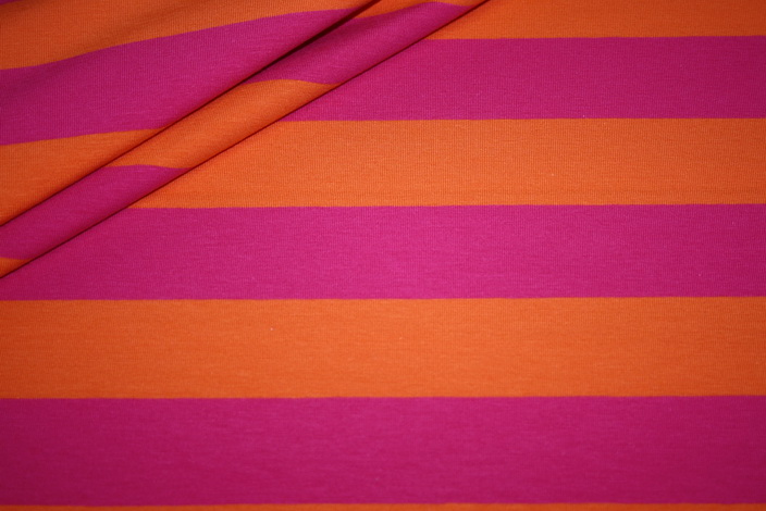 Swafings Jersey Stoff Breite Streifen pink orange