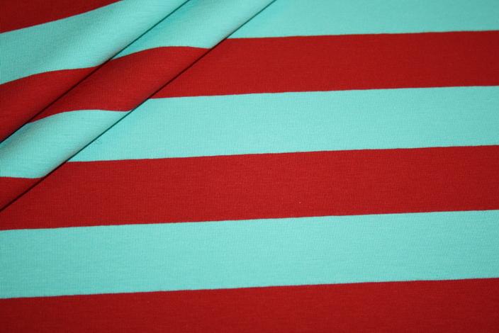 Swafings Jersey Stoff Breite Streifen rot mint türkis