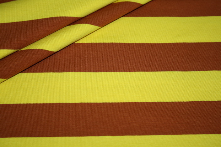 Swafings Jersey Stoff Breite Streifen gelb rost - braun