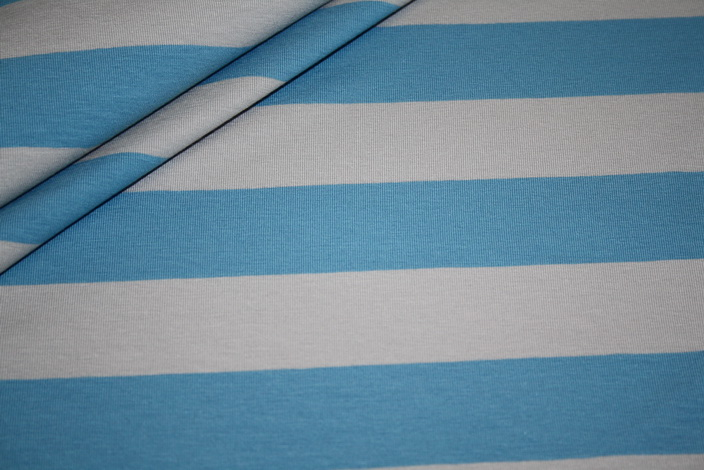 Swafings Jersey Stoff Breite Streifen blau grau