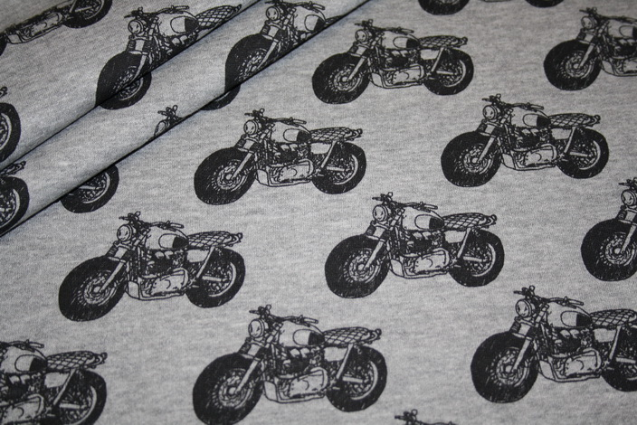 Sweatshirt Stoff grau meliert Motorrad schwarz