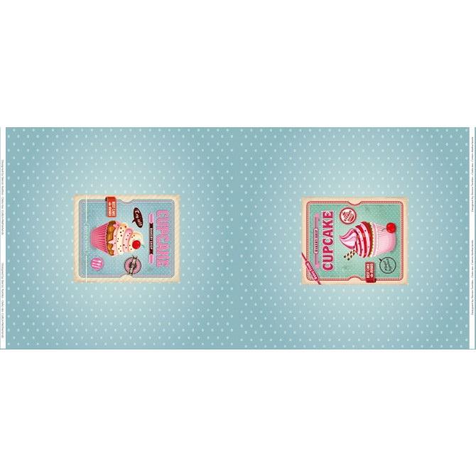 Stenzo Jersey Stoff Digitaldruck Cupcake blau kleines Panel