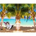 Stenzo Jersey Stoff Digitaldruck Aloha Kätzchen großes Panel