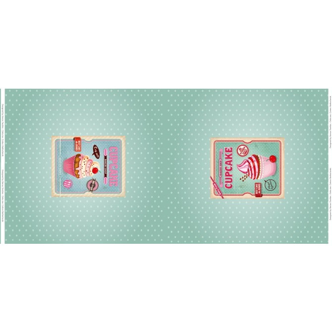 Stenzo Jersey Stoff Digitaldruck Cupcake mint kleines Panel