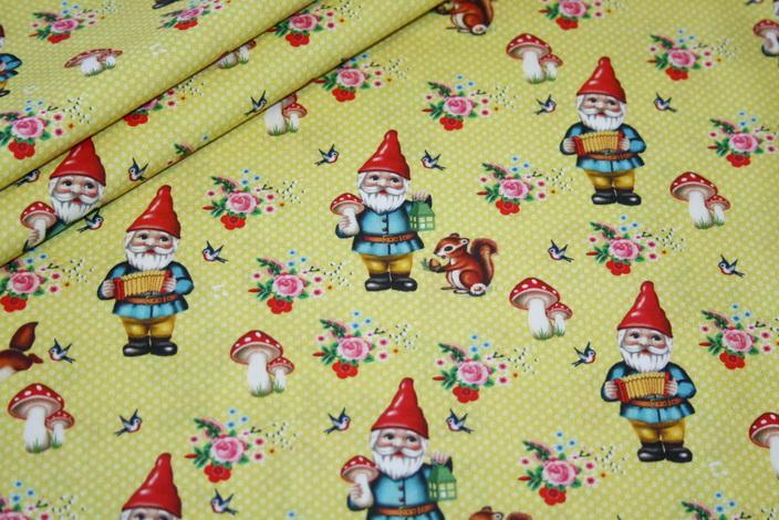 Fiona Hewitt Baumwollstoff Stoff Zwerge Happy gnome