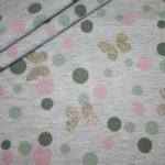Stenzo Jersey Stoff blau meliert Schmetterling glitzer Punkte mint rosa