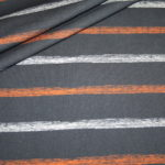 Hilco Jersey Stoff I`m sew happy Fußball Serie Streifen grau orange