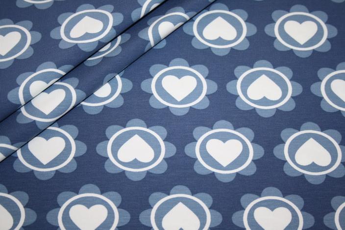 Jersey Stoff blau Herzen Blumen by Petra Laitner