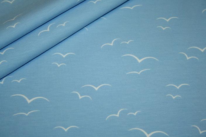 Jersey Stoff hellblau Vögel
