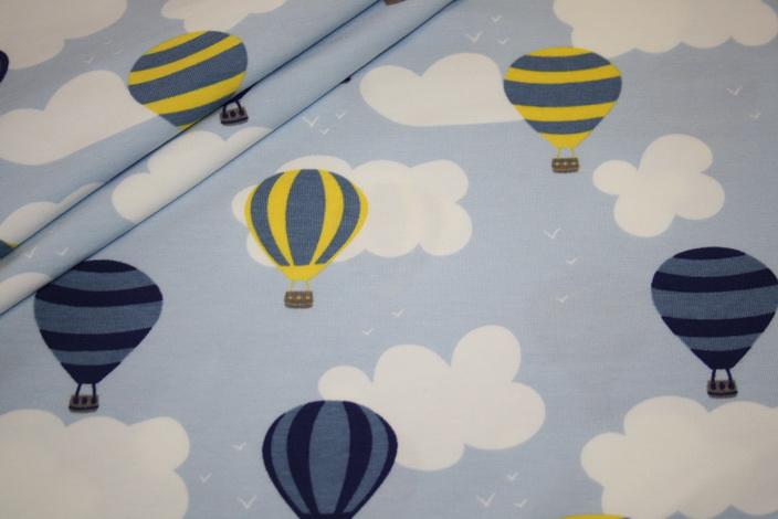 Jersey Stoff blau Heißluftballon