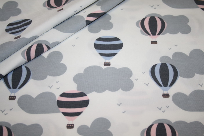 Jersey Stoff rosa grau Heißluftballon