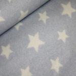 Organic Cotton Fleece Stoff hellblau Sterne
