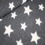 Organic Cotton Fleece Stoff grau Sterne
