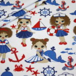 Stenzo Jersey Stoff blau rot Little Sailor Girl
