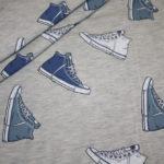 Stenzo Jersey Stoff beige meliert Sneaker Turnschuhe blau