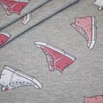 Stenzo Jersey Stoff grau meliert Sneaker Turnschuhe rosa