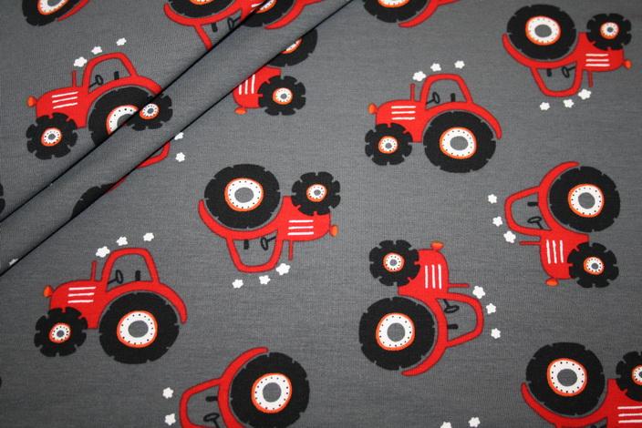 Sweatshirt Stoff grau rot Trecker Taktor
