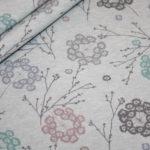 Bio Cotton Sweatshirt Stoff mint meliert pastell Blumen