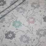 Bio Cotton Sweatshirt Stoff grau meliert pastell Blumen