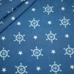 Hilco Dünner Viskose Stoff Sea Breeze by Lycklig Design Anker blau Steuerrad