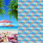 Stenzo Jersey Stoff Digitaldruck Kleiner Hund Welpe am Strand großes Panel