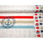 Stenzo Jersey Stoff Maritim Anker weiß rot braun