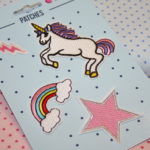 4 Patches Applikation Einhorn Stern Regenbogen Pfeile