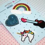 4 Patches Applikation Regenbogen Gitarre Einhorn Herz