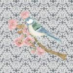 Stenzo Jersey Stoff Digitaldruck Vögel blau/grau Ornamente großes Panel