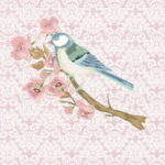 Stenzo Jersey Stoff Digitaldruck Vögel rosa Ornamente großes Panel