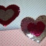 Streichpailetten Applikation Herz pink - silber
